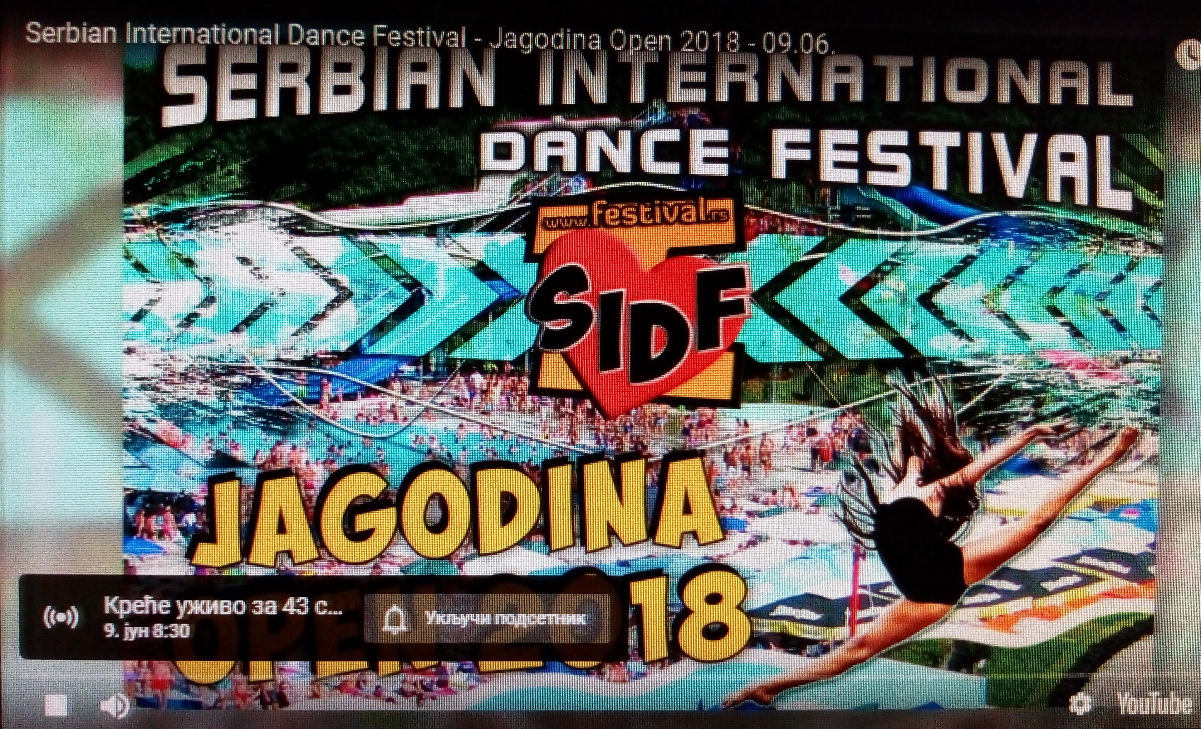 Jagodina Open-takmičenje u plesu-SUBOTA-9.6.2018-prenos uživo