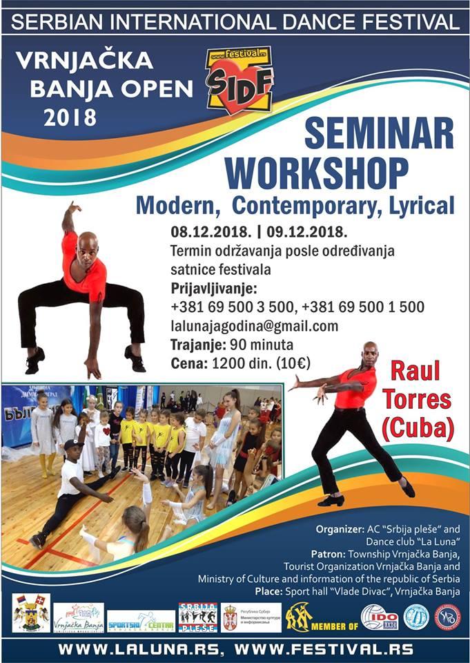 Seminar na Serbian International Dance Festivalu u Vrnjačkoj Banji – Raul Torres Kuba